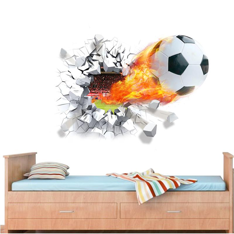 Tir de football à travers des autocollants muraux pour enfants décoration de chambre décalcomanies de football funs 3d art mural sport jeu affiche en pvc