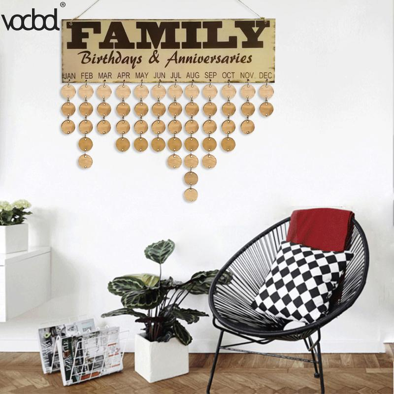 VODOOL DIY Wooden Calendar Family Birthday Anniversary Wall Calendar Sign Special Dates Planner Board Home Hanging Decor Gifts diy wall hanging wooden family birthday calendar