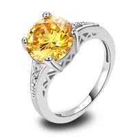 Onlylove Exquisite Fashion Jewelry  Round Cut Citrine White Topaz 925Silver Ring Size 6 7 8 9 10 11 12  Wholesale Free Shipping