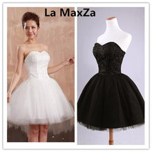 La MaxZa women summer strapless lace ball gown short Dresses dinner party  sexy plus size vestido black white red gowns clothes 77389147e0e0