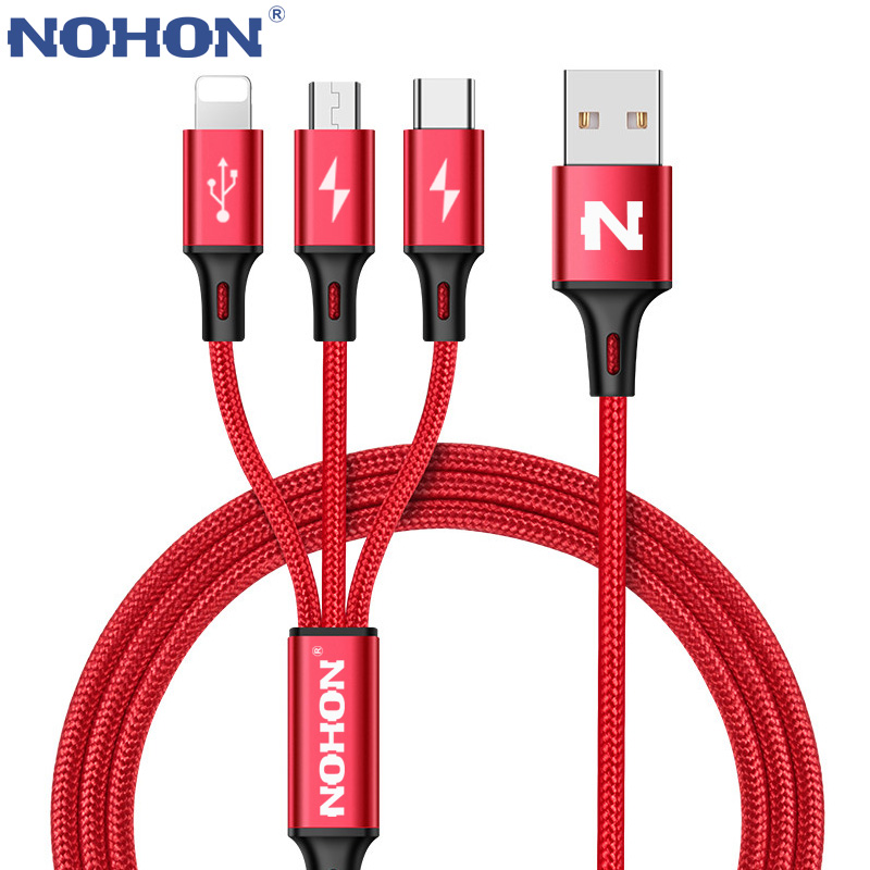 NOHON 3 IN 1 8Pin Type C Micro Nylon USB Cable For IPhone 8 X 7 6 6S Plus IOS 10 9 8 Samsung Nokia USB Fast Charging Cables Cord