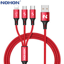 NOHON 3 IN 1 8Pin Type C Micro Nylon Usb-kabel Voor iPhone 8X7 6 6S Plus iOS 10 9 8 Samsung Nokia USB Snel Opladen Kabels Cord(China)