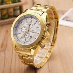 Top Marca de Luxo Dos Homens de Aço Inoxidável À Prova D' Água Relógio de Ouro Relógio de Quartzo dos homens Esportes Masculinos Casuais Relógios relogio masculino