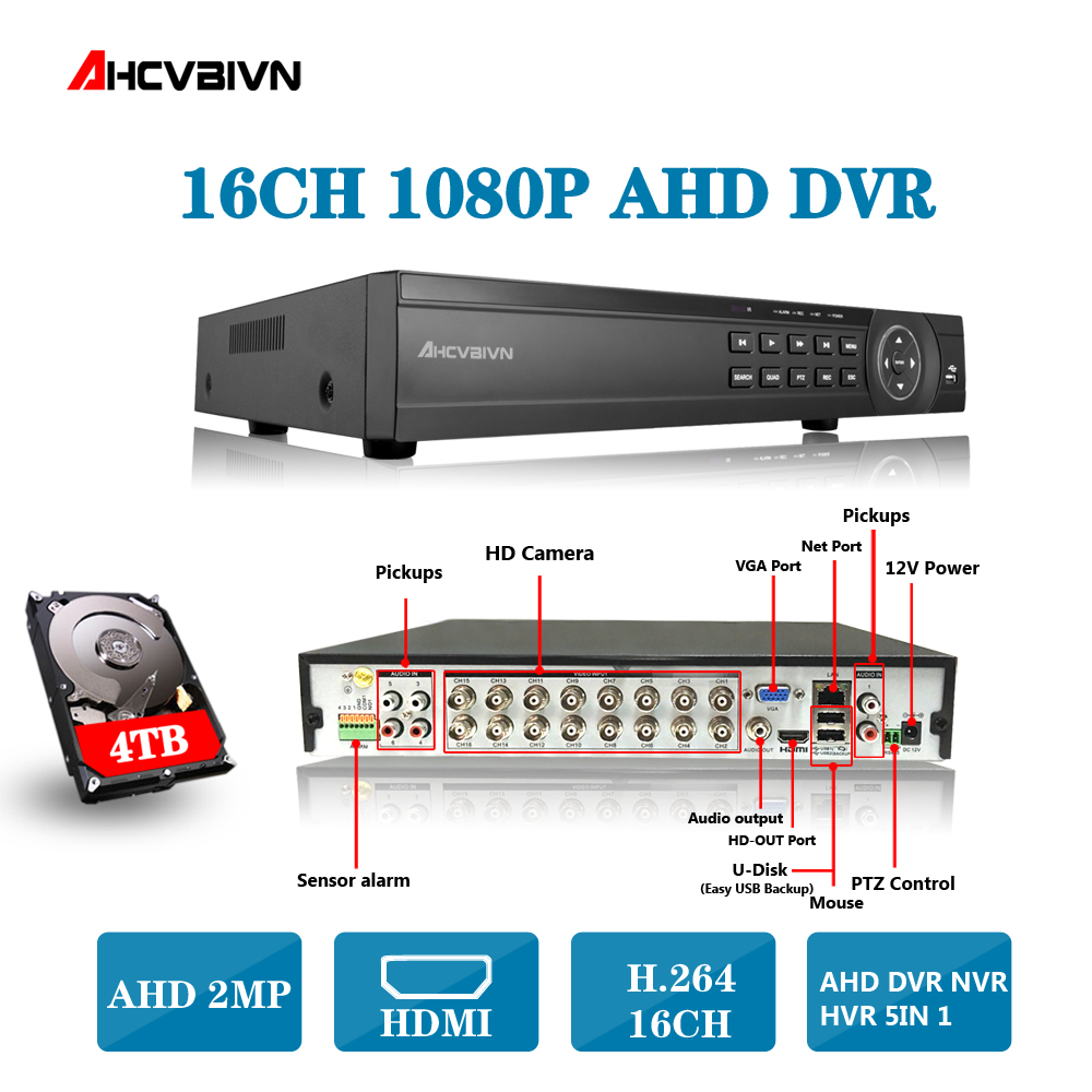 AHD DVR 16ch 1080P home surveillance 16 channel 1080N security CCTV DVR video recorder HDMI 1080P 16 channel AHD DVR NVR 2TB 1080n avr nvr dvr hvr 16 channel support connection ahd cctv ip camera 1080p 16ch jienu