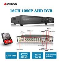 AHD DVR 16ch 1080 P домашнего наблюдения 16 каналов 1080N безопасности CCTV DVR видео рекордер HDMI 1080 P 16 каналов AHD DVR NVR 2 ТБ