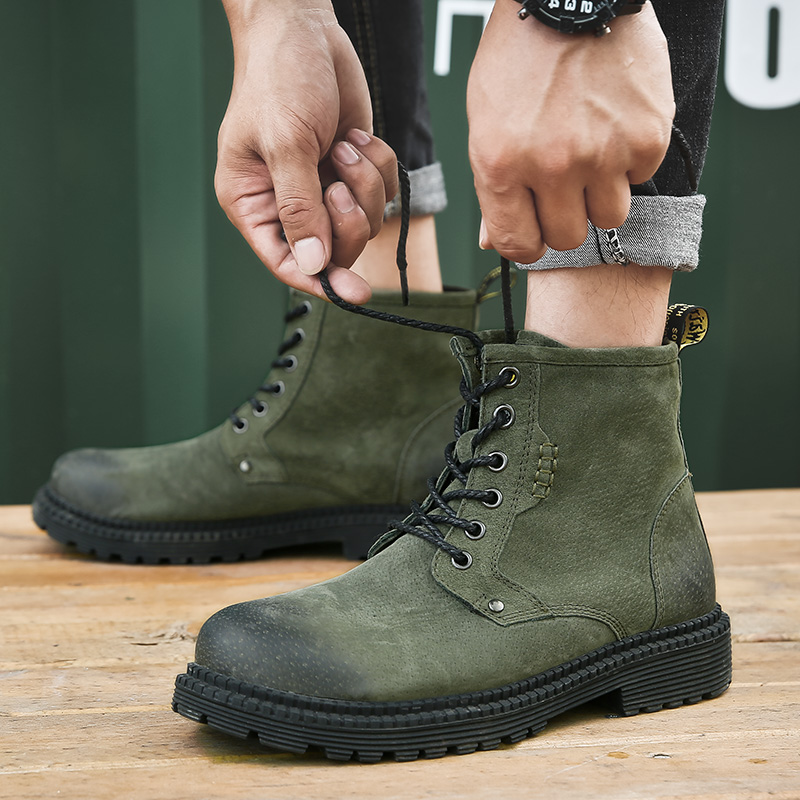 2019 Coturno Vintage Fashion Men's Martins Boots Autumn Winter Cowhide Leisure Shoes Split Leather Ankle Boot Lace-up Work Shoes