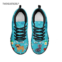 1dfcf98813 Twoheartsgirl Spring Autumn Women Shoes Cute Cat Puppy Pug Print Vulcanize  Sneakers For Women Breathable Lace
