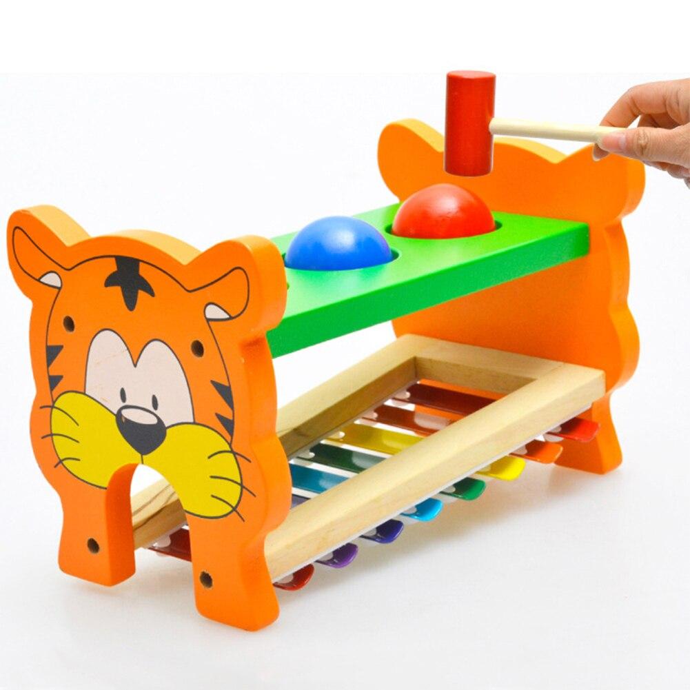 2in1 Малыш Деревянный фунт и нажмите скамейке развития образования музыкальные игрушки