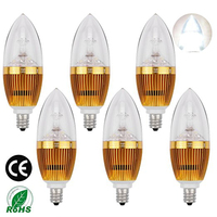 LEDMO 6 Pack LED Candle Bulbs Dimmable 3W Base E12 25W Incandescent Bulb Equivalent White 6000K