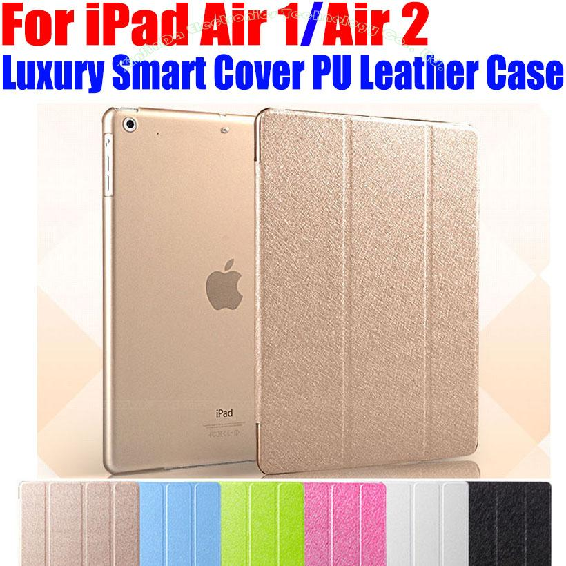 Newest Luxury Stand PU Leather Case For iPad Air 1/2 Smart Cover Translucent Clear back Case For iPad Air1 Air2 I606 for apple ipad air 2 pu leather case luxury silk pattern stand smart cover