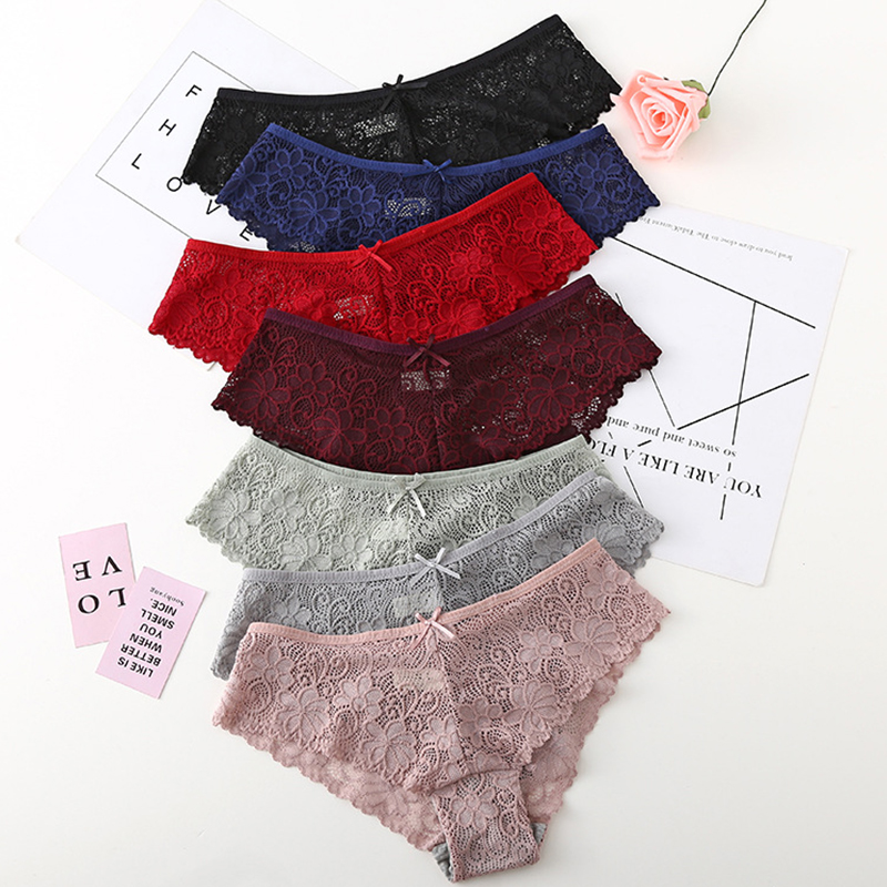 Purple Sexy Lace   Panties   Women Fashion Cozy Lingerie Tempting Pretty Briefs High Quality Cotton Low Waist Cute Women Underwear