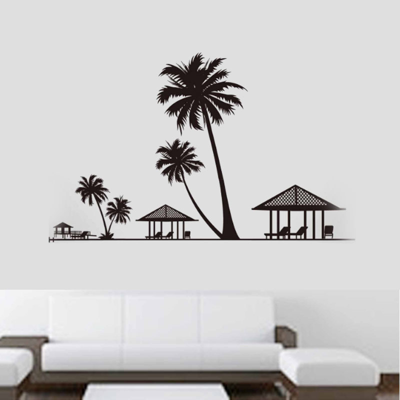 Solid beach silhouette wall sticker black coconut tree house gazebo living room landscape beach wallpaper decoration shop office