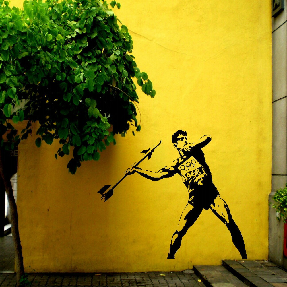 LARGE BANKSY OLYMPICS 2012 BEDROOM WALL ART STICKER MURAL TRANSFER ...