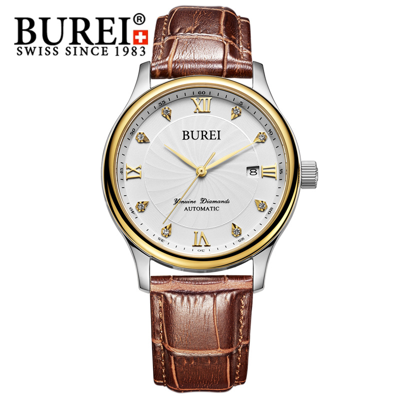 BUREI Automatic Men watch Sapphire Mirror Stainless Steel 5ATM waterproof Fashion Rhinestone Date Luxury Wristwatch Gift