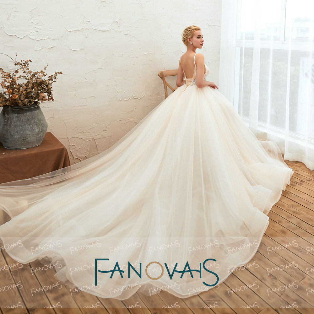 Image 3 - Fanovaid Deep V Neck Lace Tulle Long Train Elegant Vintage Wedding Dresses suknia slubna gelinlik	vestidos de novia 2019Wedding Dresses   -