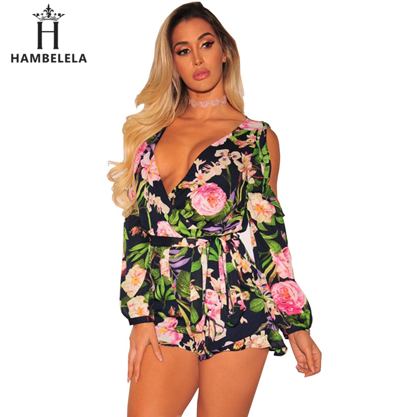 HAMBELELA Cold Shoulder Ruffles Print Jumpsuit Romper Women Belted Chiffon Leotard Summer Beach Overalls Boho Playsuit Women ...