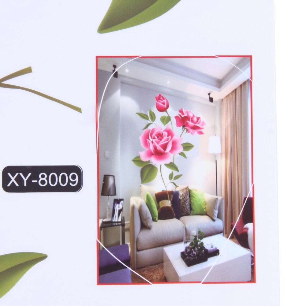 25caf532f Creative Gifts PVC 3D Rose Flower Romantic Love Wall Sticker Removable  Decal Home Decor Living Room Bed Decals Mother s Day Gift-in Wall Stickers  from Home ...