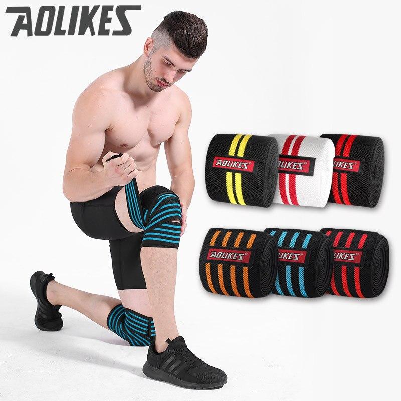 AOLIKES 1 piezas 200*8 cm rodilla Wraps hombres Fitness levantamiento de pesas deportes rodilla vendajes Squats equipo de entrenamiento accesorios para gimnasio