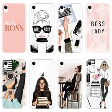 Funda para iPhone x XR XS MAX 8 7 6 S 6 S suave silicona chica jefe Rosa mujer dibujos animados Back funda para iPhone 8 7 6 S 6 S Plus(China)