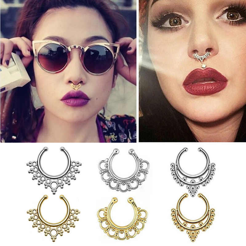 Fake Piercing Septum For Women Body Jewelry Nose Ring Industrial Piercing Nariz Ear Rings Jewellery Sieraden Bijoux Femme Aretes