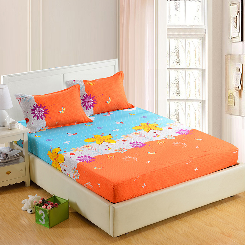 1pc 100% Polyester Fitted Sheet Madrass Cover Fire Corners Med Elastisk Band Bed Sheets 90cm * 200cm 160cm * 200cm