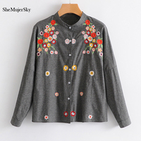 SheMujerSky Women Grey Shirt Embroidery Little Floral Blouse O Neck Long Sleeve Cardigan Tops Camisa Mujer