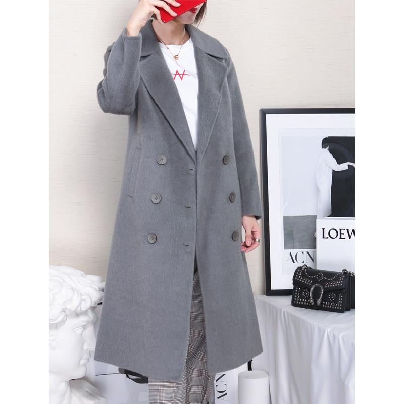 Loisirs Veste 2018 37030 Gris Maylooks hiver Style Dame Long Laine Mode Solide Femmes Nouvelle Automne Manteau Lady 7xZd0Z