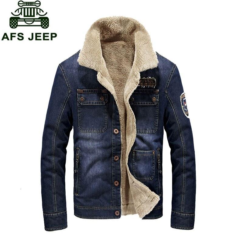 M 3XL New Fleece Warm Denim Jackets font b Mens b font font b Jeans b