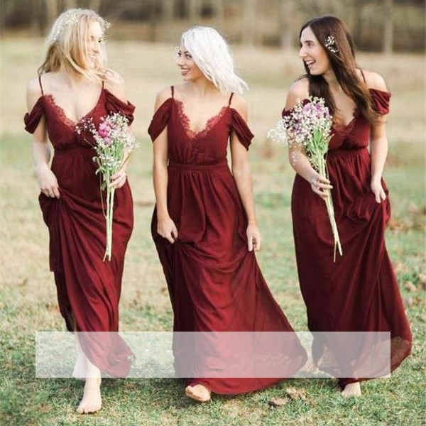 Burgundy 2019 Cheap   Bridesmaid     Dresses   Under 50 A-line V-neck Off The Shoulder Chiffon Lace Long Wedding Party   Dresses