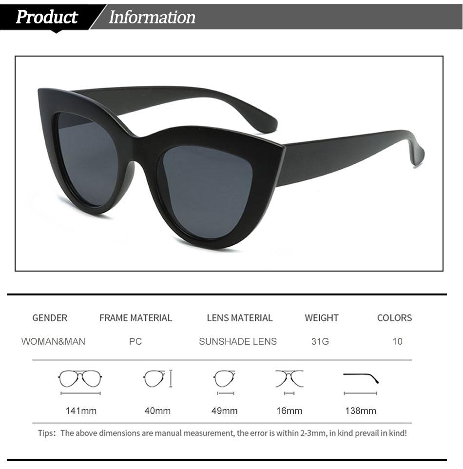 Black Classic Cat Eye Women Sunglasses Designer Brand Trend Style Glasses Adult Eyeglasses 3