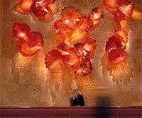 Modern Art Red Blown Murano Glass Wall Plates