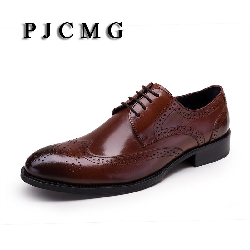 PJCMG New Black /Wine Red/White/Brown Oxfords Formal Mens Dress Lace-Up Pointed Toe Genuine Leather Business Man Wedding Shoes high quality carved black red mens dress oxfords lace up pointed toe genuine leather wedding mens business for work shoes