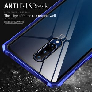 Image 5 - Luxury Hard Armor Metal Bumper Case For Oneplus 7 Pro Shockproof 9H Tempered Glass Case For One Plus 7 Pro Full Glass Cover
