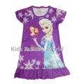 HOT Girls Crianças Personagem de Desenho Animado Padrão Sleepwear Meninas Anna Princesa Pijamas Crianças Camisola Roupa Vestido Frete Grátis