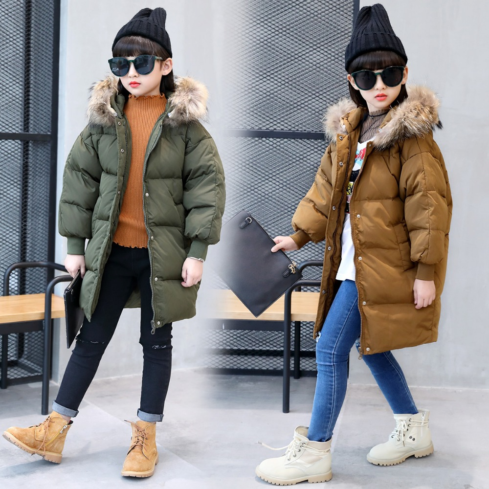 2017 Down Jacket For Girls  Large Racoon Fur Collalr White Duck Down Jacket Baby Girls Winter Clothes Hooded Outwear TZ201 roomble люстра racoon white