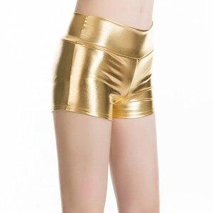 Image 3 - YRRETY Più Il Formato Adulto Argento Metallizzato Shorts Rave Booty Shorts Metà di Vita Cheer Shorts DELLUNITÀ di ELABORAZIONE Lucido Danza Donna Shorts Sexy m XXL