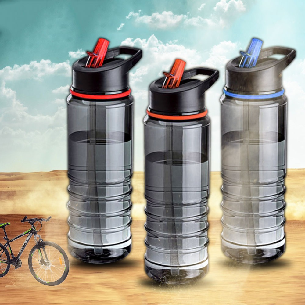 EYCI Flip Straw Drinks Sport Gym Hydration Water Bottle Bike Caming New Random Color