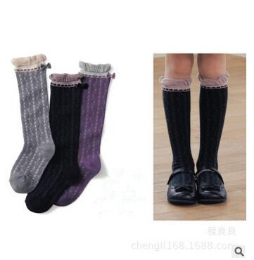 Girls Knee High Socks With Bowknot Kids School Boots Dress Socks Black Purple Gray Uniform Cotton Soft Children Sock 3-9Y