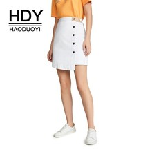 HDY Haoduoyi 2019 Summer Ladies Above Knee Length Button High Waist Skirt Solid Colour Female Patchwork School Skirt