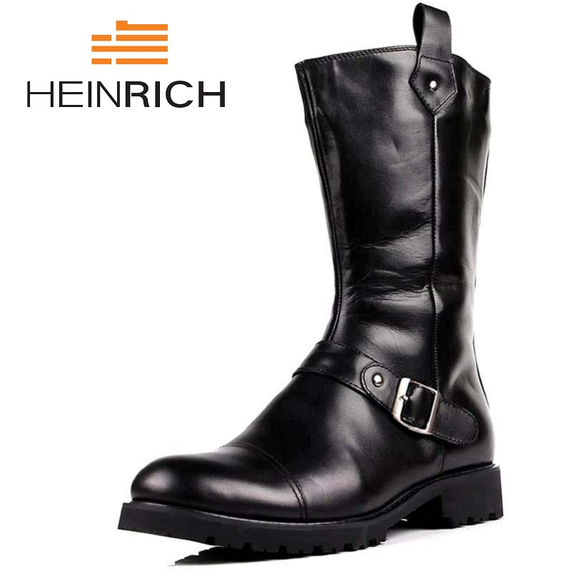 HEINRICH Genuine Leather High Top Boots Flats British Style Height Increase Ankle Men Shoes Pointed Toe Brand Boots Stivali салатник luminarc arty orange диаметр 27 см