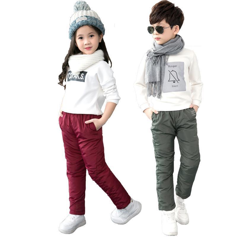 2021 Winter New Boys Pants Girls Leggings Children Down Cotton Warm Trousers Baby Waterproof Ski Pants Kids Boys Child Clothes 2