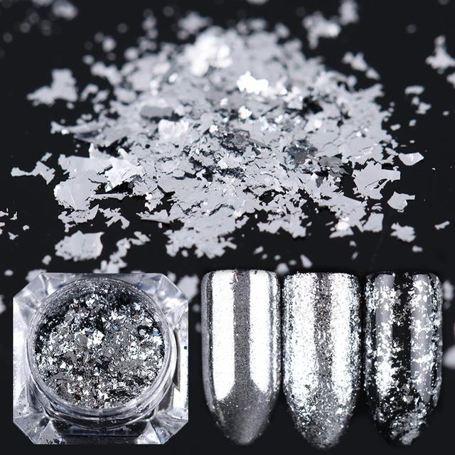 0.2g Nail Glitter Flakes Silver Bling