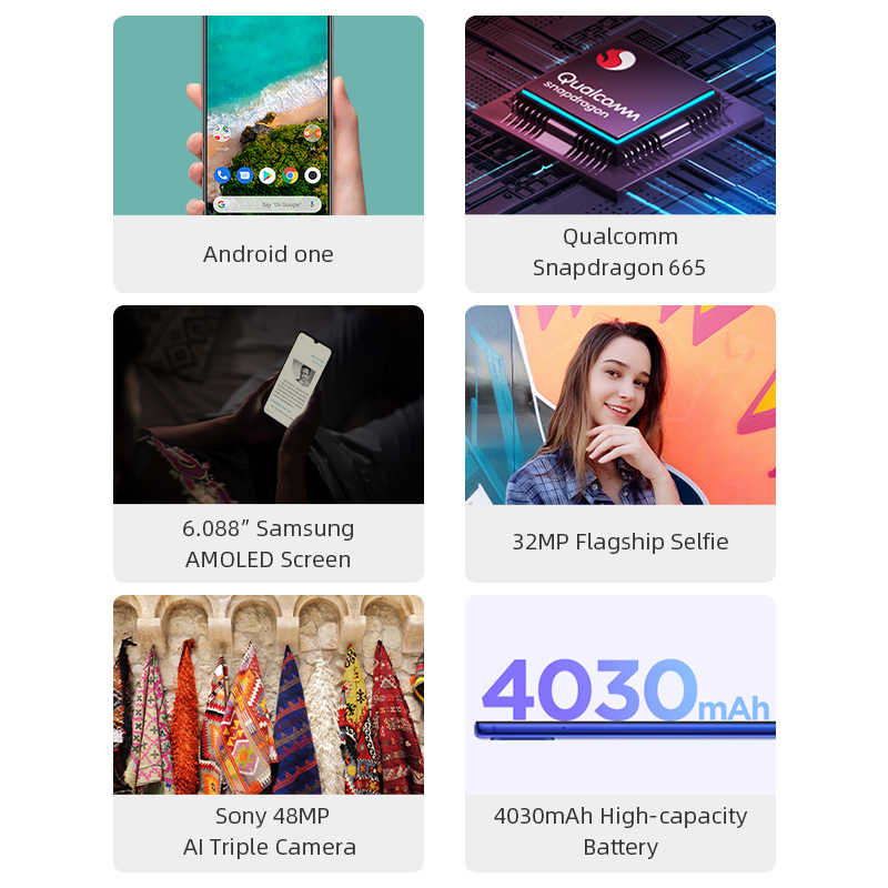 "Global Version Xiao mi mi A3 4GB 64GB สมาร์ทโฟน CC 9e Snapdragon 665 Octa Core 6.088 ""AMOLED หน้าจอ 48MP + 32MP กล้อง 4030mAh"