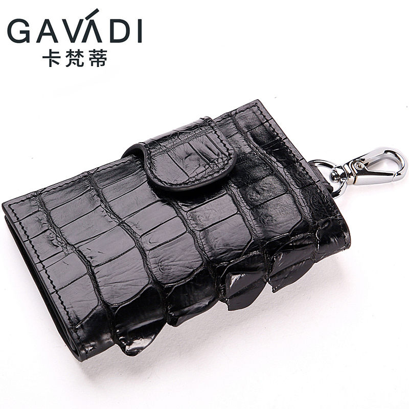 GAVADI  Real Crocodile Leather Car key Wallet Multi Function Key Case Fashion Housekeeper Holder 6 Key Rings Car Key Bag Small
