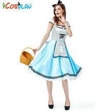 2019 new Halloween costumes cos fairy tale dreamland wonderland black and white polka dot Alice adult party beer