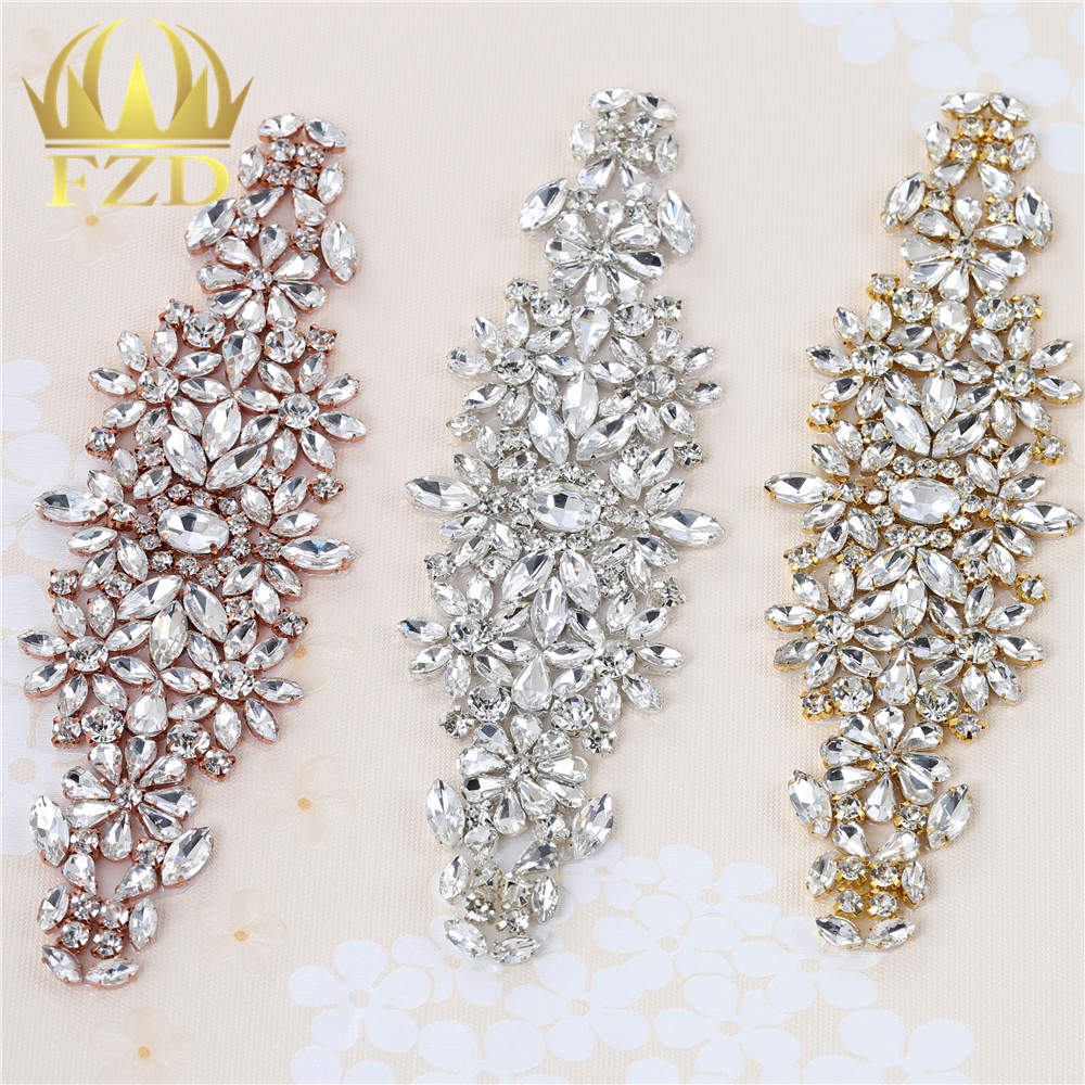 (1 Piece) Sew On Strass Applique Rhinestone For Wedding Belt Pearl Patch Crystals Iron On Glass For Bridal Headband Trim