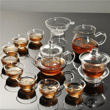 Heat resistant transparent glass teapot double layer small cups Kung Fu tea
