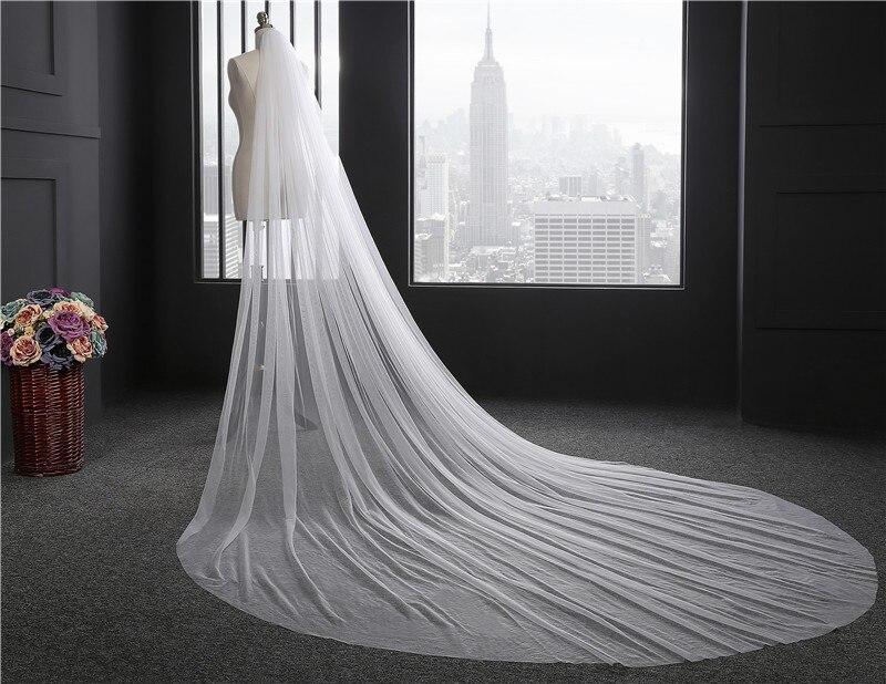 2018 Elegáns Női esküvői fátyol 300 CM hosszúságú lágy menyasszonyi ... ba69241bf9