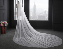 2018 Elegant Woman Wedding Veil 300 CM Longth Soft Bridal Veils With Comb OnelayerIvory White Bride Wedding Accessories