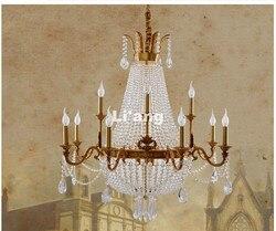 Nowoczesne europejskiej żyrandol brąz D95cm E14 miedzi kryształowy żyrandol kryształ oświetlenie willi Cristal Lustre lampie